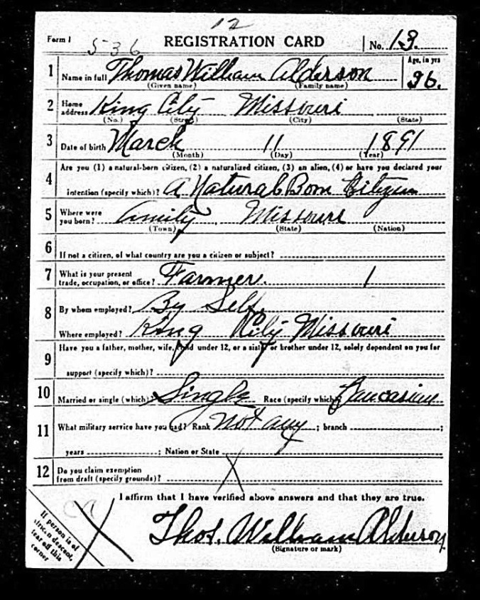 Grandpa's WW1 Registration Card (1)