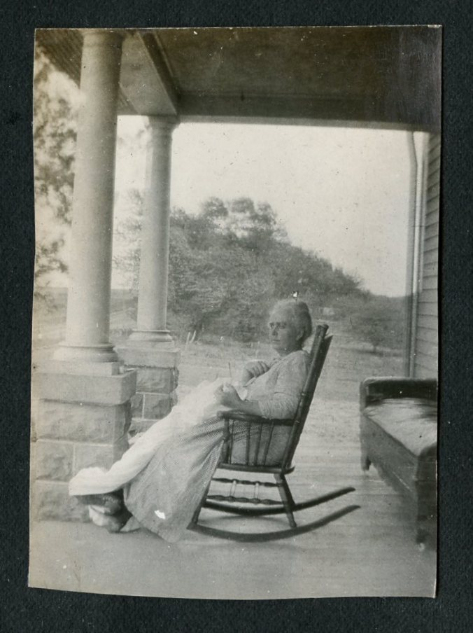 Gma photos, detail of Gma Dykes on porch?