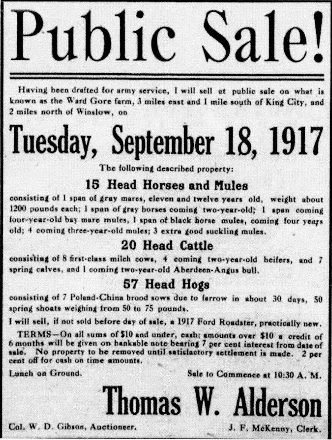 1917 farm sale